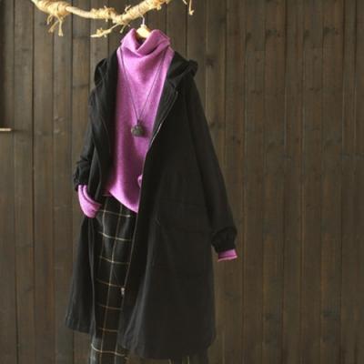 經典版氣質黑連帽加絨棉服外套寬鬆中長版顯瘦外衣-設計所在