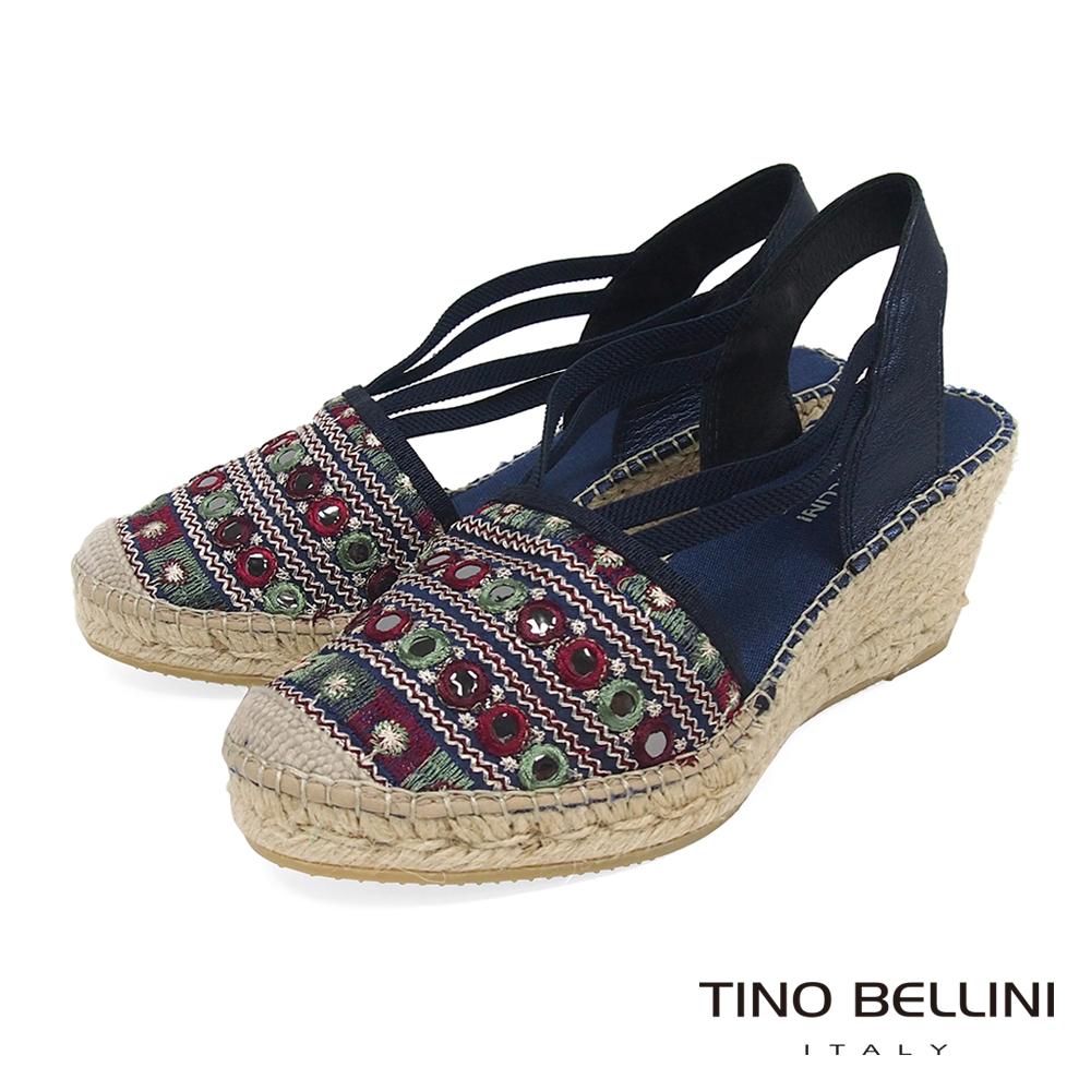 Tino Bellini 西班牙進口異國風情電繡圖紋楔型鞋 _ 藍