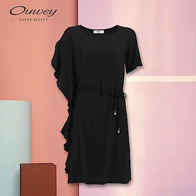 OUWEY歐薇 不對稱袖型珠飾綁帶洋裝(黑)
