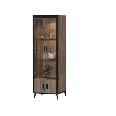 AS-灰橡耐磨2×6尺收納櫃/餐櫥櫃/高櫃/展示櫃-60×40×185cm