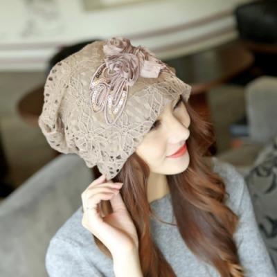 【89 zone】法式雙層花朵鏤空蕾絲優雅透氣防風/頭巾帽(卡其)