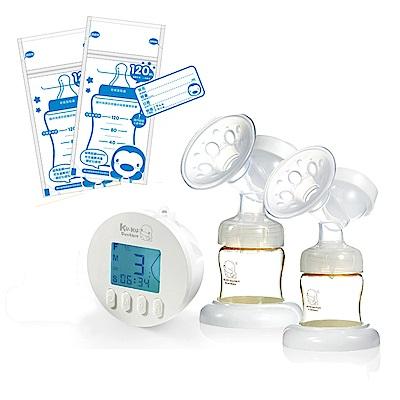 酷咕鴨KU.KU. 智能韻感雙邊吸乳器+藍色企鵝 PUKU Petit母乳儲存袋120ml