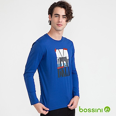 bossini男裝-印花長袖T恤09藍