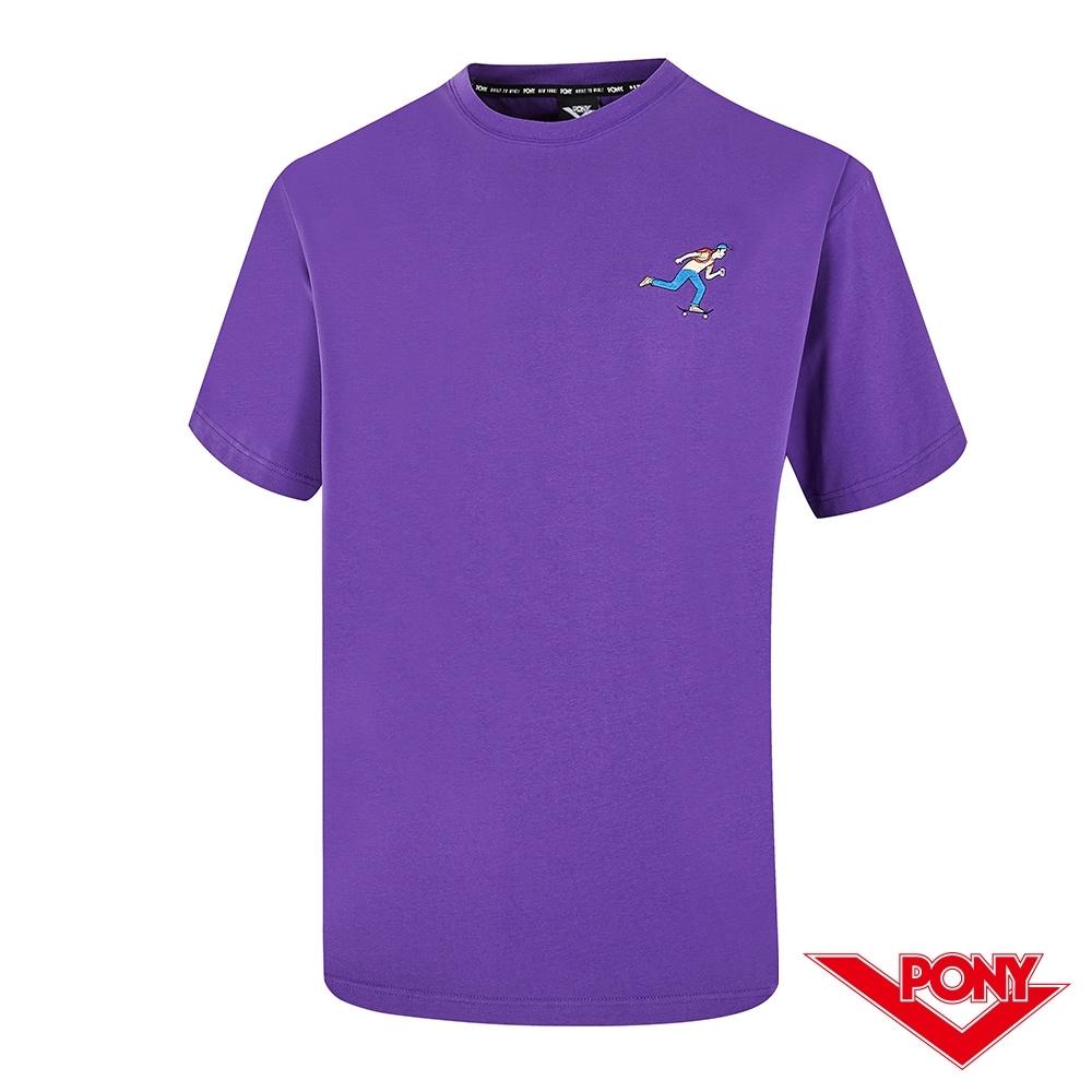 【PONY】滑板小人短袖T恤上衣 中性款-紫