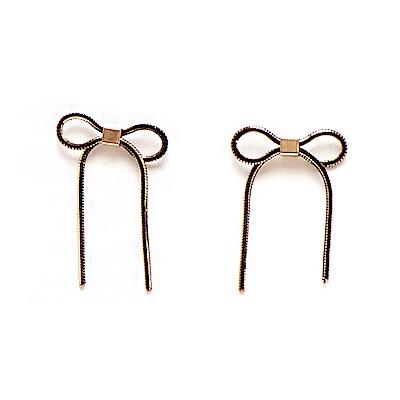 LOVER S TEMPO加拿大品牌 垂墜蝴蝶結 黑金雙色耳環