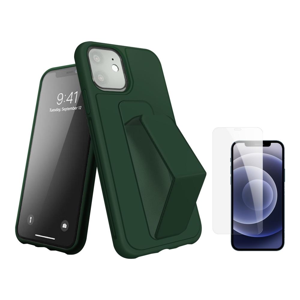 [買手機殼送保護貼] iPhone 12 支架 手機殼 -松針綠 贈 手機 保護貼-松針綠*1/贈透明貼*1
