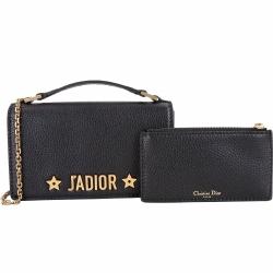 Dior J ADIOR 附萬用包翻蓋式鍊帶斜背手提包(黑色)