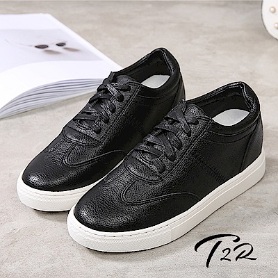T2R-韓國空運隱形內增高7公分舒適綁帶休閒鞋-黑色