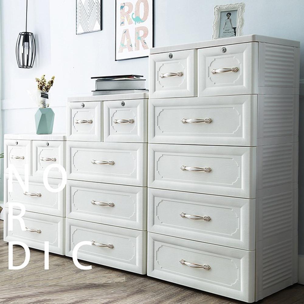 【日居良品】歐式古典3+4+5層系列收納櫃DIY附鎖抽屜附輪-60面寬