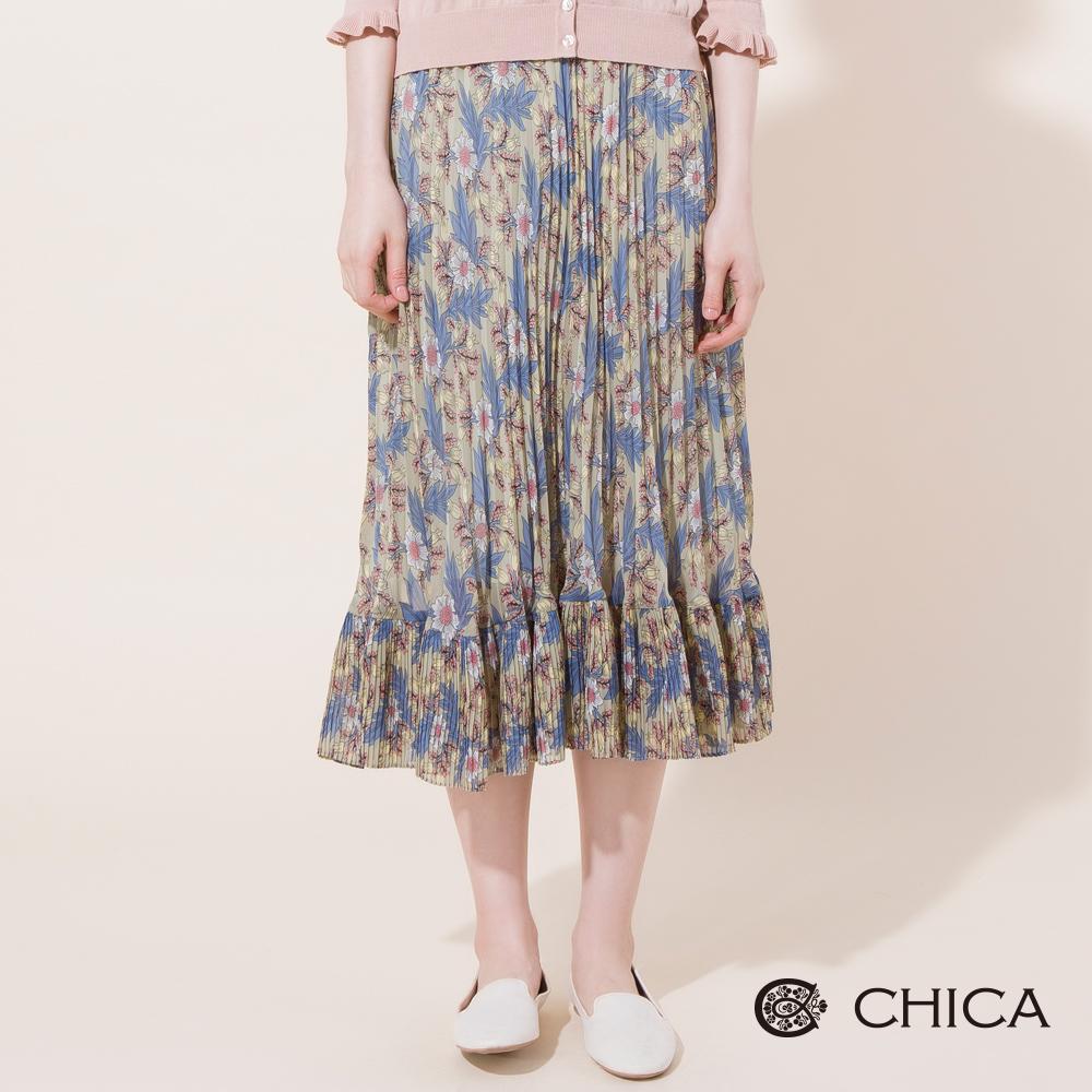 CHICA 絕美花藝滿版圖騰細百摺長裙(2色)