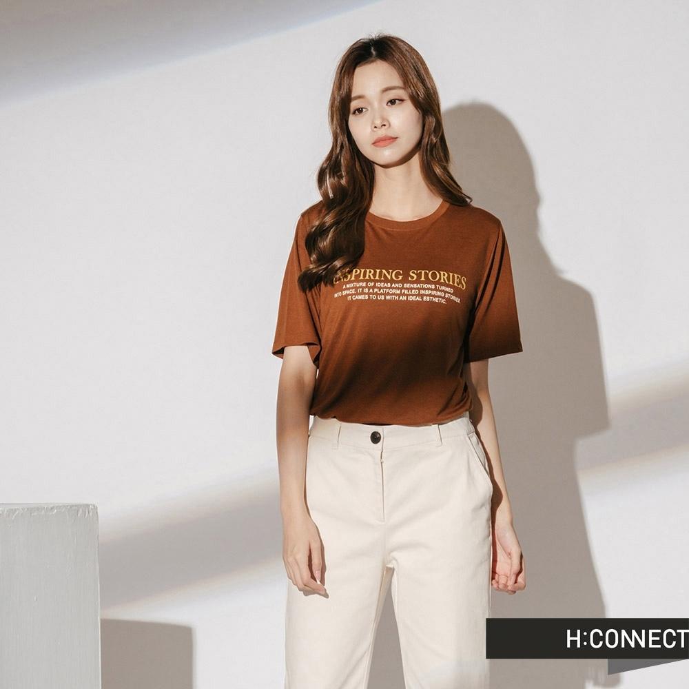 H:CONNECT 韓國品牌 女裝-簡約標語短袖T-shirt-棕