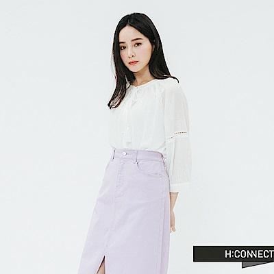 H:CONNECT 韓國品牌 女裝-簍空刺繡綁結上衣-白