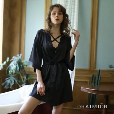 性感睡衣 DRAIMIO優雅簡約絲滑睡衣外套。黑色 久慕雅黛