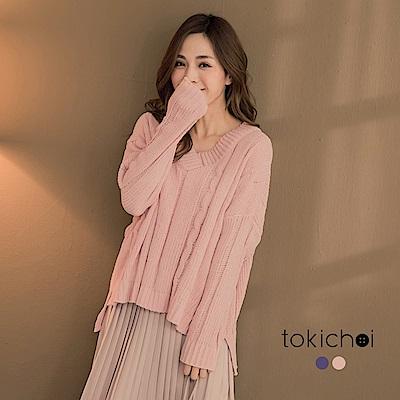 東京著衣 少女繽紛厚實V領雪尼爾暖感毛衣(共二色)