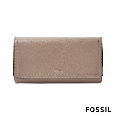 FOSSIL LOGAN 真皮系列三折拉鍊零錢袋長夾-奶油駝色