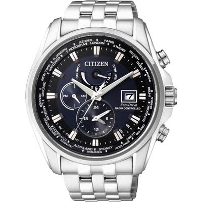 CITIZEN 星辰 Eco-Drive 競速賽車電波計時腕錶-藍/44mm AT9031-52L