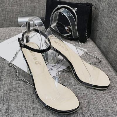 KEITH-WILL時尚鞋館 時尚舒適透明粗跟鞋-黑