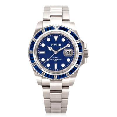 HYUN炫 男士鋯石設計精品錶-白鋼藍底藍鑽