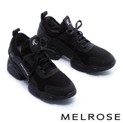 休閒鞋 MELROSE 率性時尚異材質拼接綁帶厚底休閒鞋-黑