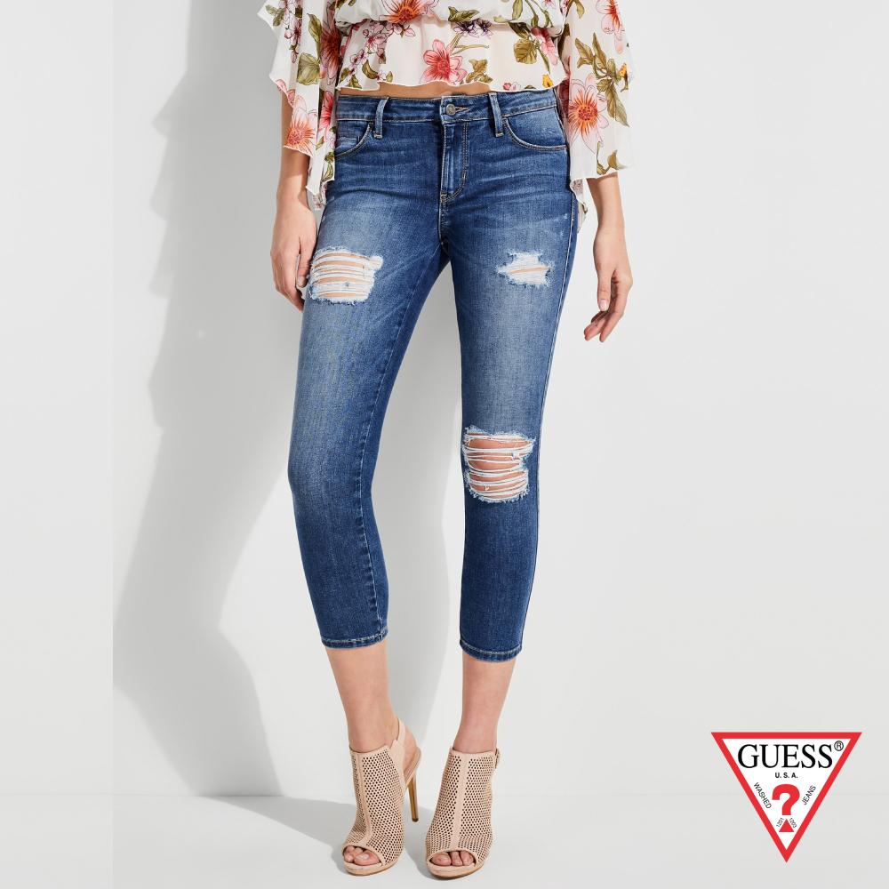 GUESS-女裝-割破窄版九分牛仔褲-藍 原價2990