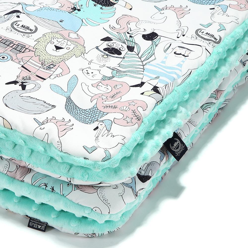 La Millou 暖膚豆豆毯嬰兒毯-LA MILLOU FAMILY II-粉嫩糖果綠
