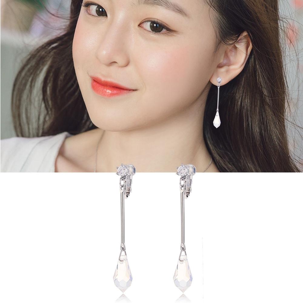 梨花HaNA 無耳洞/耳針款韓國仙女一點露水晶長耳環