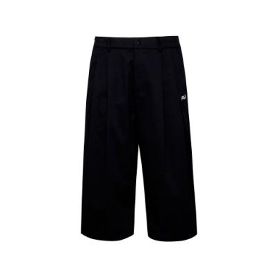 FILA #日潮攻略首部曲 平織七分褲-黑色 1PNU-1431-BK
