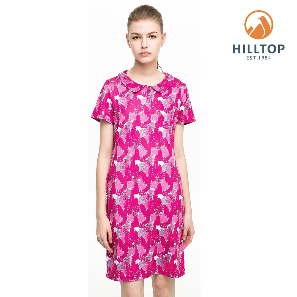 【hilltop山頂鳥】女款吸濕快乾抗UV彈性抗菌長版POLO衫S14FF8桃紅