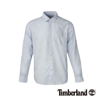 Timberland 男款淺藍色修身彈性長袖襯衫 A1WT8
