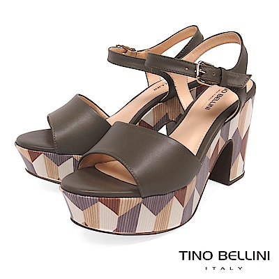 Tino Bellini 巴西進口幾何形象色塊藝術高跟涼鞋 _ 深灰