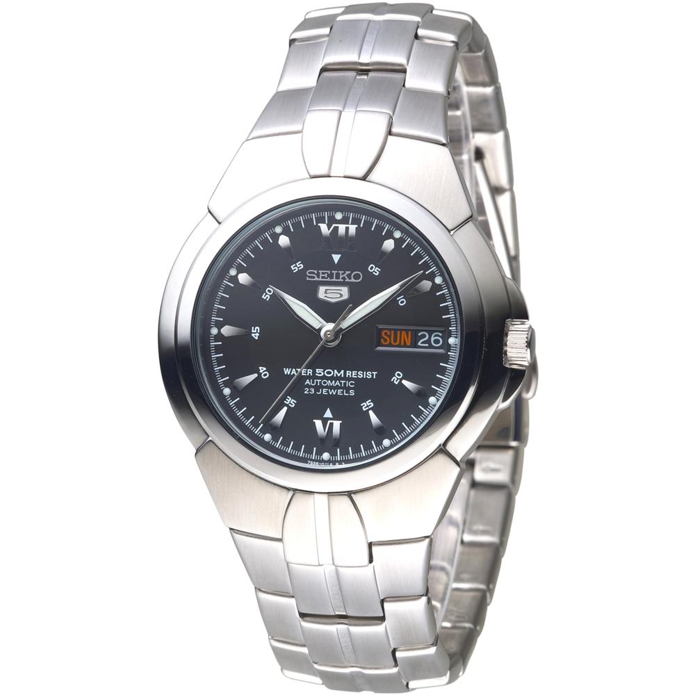 SEIKO 紳士5號盾牌23石機械腕錶-黑(SNZC25K1)/39mm