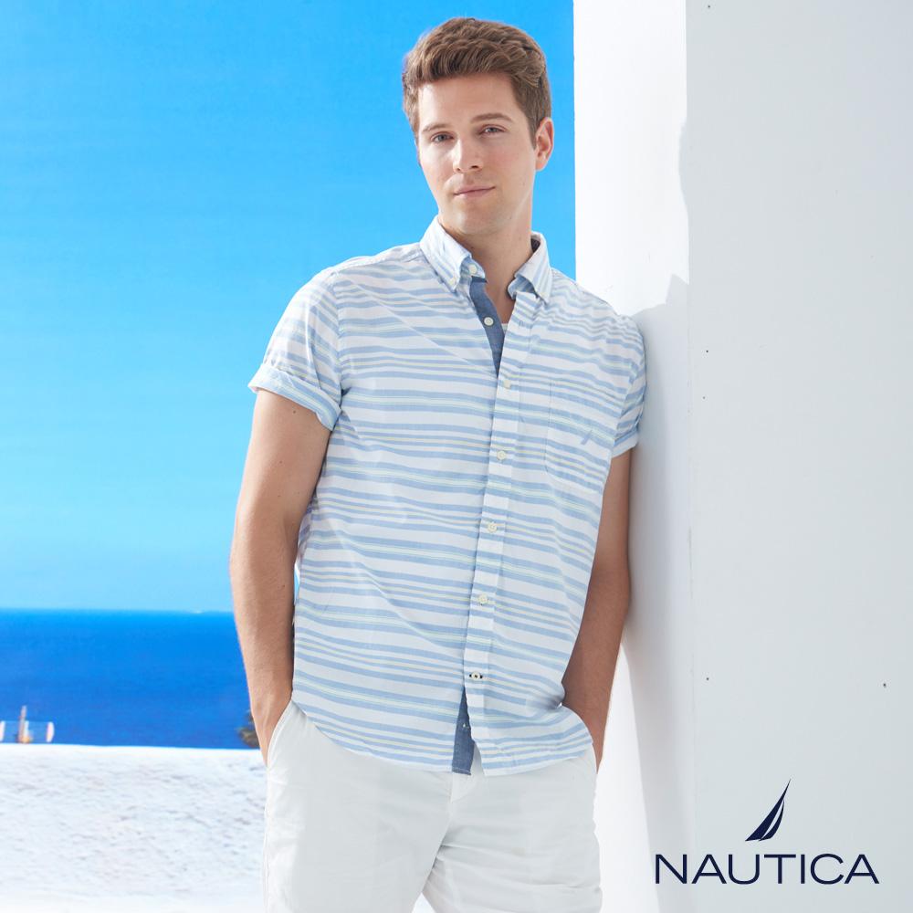 Nautica紳士優雅條紋短袖襯衫-藍白條紋