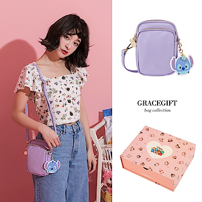Disney collection by grace gift-雙層直式側背小包 紫
