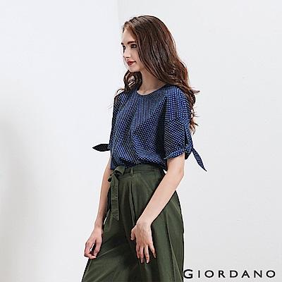 GIORDANO 女裝牛仔綁袖寬版T恤-78 深藍