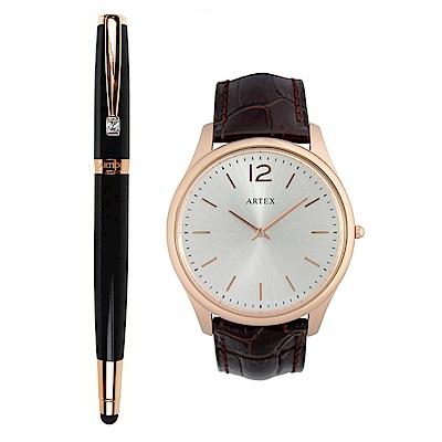 ARTEX 雅致觸控鋼珠筆玫瑰金黑+5605真皮手錶-褐/玫瑰金43mm