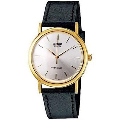 CASIO 首席經典簡約風丁字面時刻皮帶腕錶(MTP-1095Q-7)白/39mm