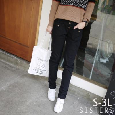 很好搭的鬆緊腰挺版長褲牛仔褲(S-3L) SISTERS
