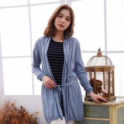 闕蘭絹蠶絲針織罩衫綁帶外套 ( 藍) - 6619