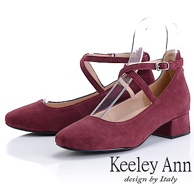 Keeley Ann 氣質甜美~交叉細帶粗跟全真皮瑪莉珍鞋(酒紅色)