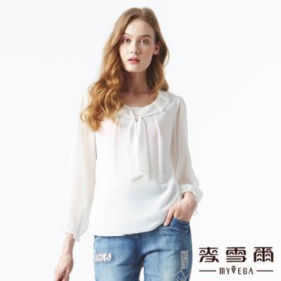 【麥雪爾】氣質雪紡水鑽素色上衣-白