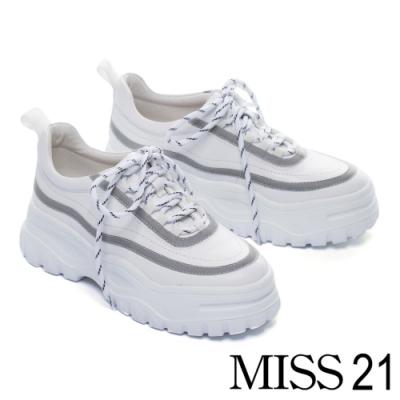 休閒鞋 MISS 21 街頭反光潮流帥氣綁帶老爹厚底休閒鞋-白