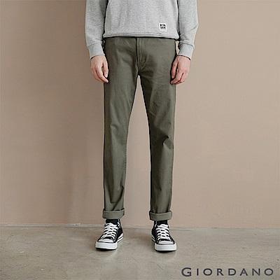 GIORDANO 男裝彈力棉質基本款錐形長褲-10 深淵綠