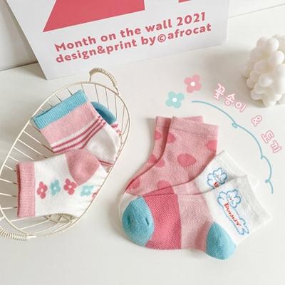 夏季女童襪(四入一組)1030花花小萌兔
