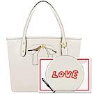 COACH 白色皮革蝴蝶結小型托特包+COACH 白色LOVE字樣皮革零錢包