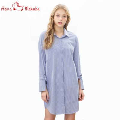 Hana-Mokuba-花木馬日系女裝條紋長款襯衫_藍條紋/黑條紋