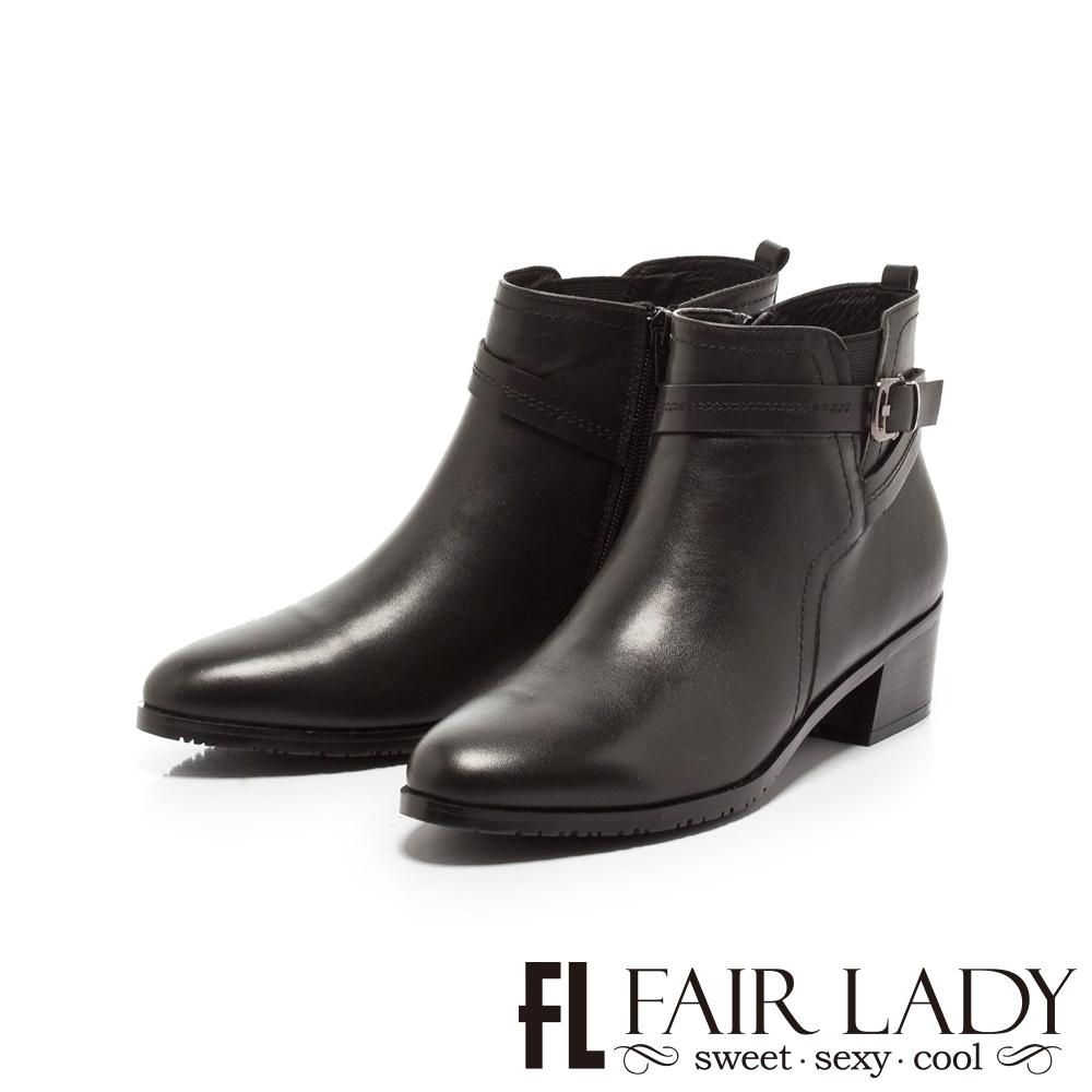 Fair Lady釦帶皮革拼接中筒粗跟短靴 黑