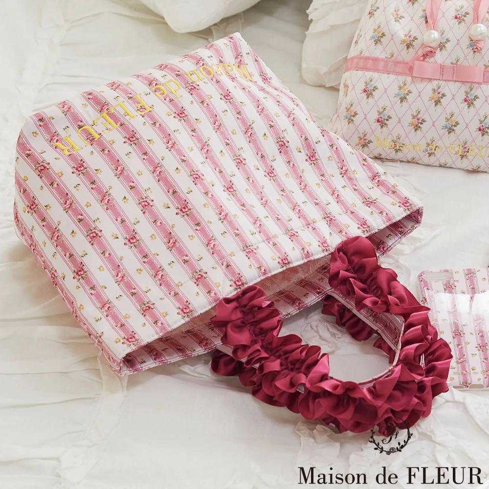 Maison de FLEUR 玫瑰花朵荷葉邊手提包