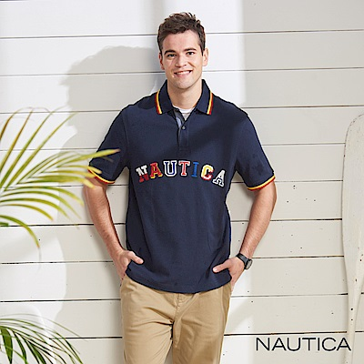 Nautica 跳色LOGO短袖POLO衫-藍