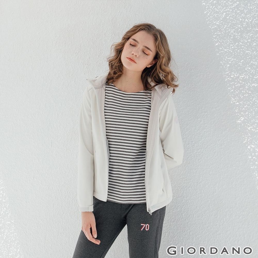 GIORDANO 女裝Softshell三合一高機能炫彩刺繡連帽外套-02雪白