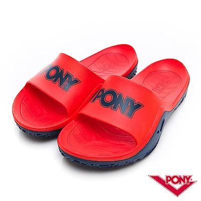 【PONY】輕量抗菌防臭防滑運動拖鞋 涼鞋 男鞋 女鞋 橘色